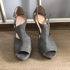 Heeled Grey peeptoe booties